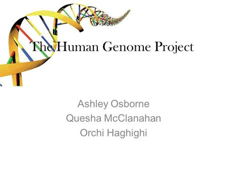 The Human Genome Project Ashley Osborne Quesha McClanahan Orchi Haghighi.