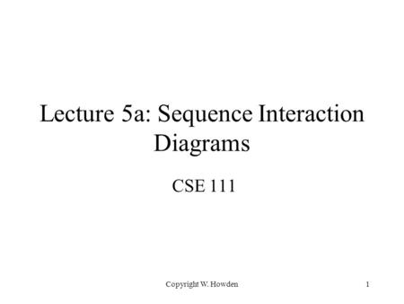 Lecture 5a: Sequence Interaction Diagrams CSE 111 Copyright W. Howden1.