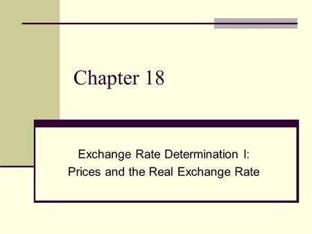 Chapter 18 Exchange Rate Determination I: Prices and the Real Exchange Rate.