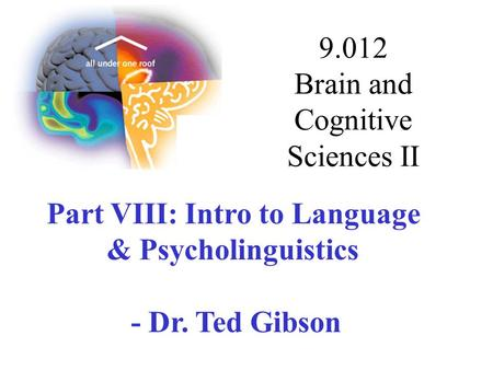 9.012 Brain and Cognitive Sciences II Part VIII: Intro to Language & Psycholinguistics - Dr. Ted Gibson.