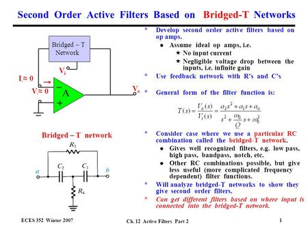 Second Order Active Filters Based on Bridged-T Networks