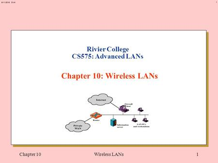 1 6/11/2015 21:41 Chapter 10Wireless LANs1 Rivier College CS575: Advanced LANs Chapter 10: Wireless LANs.