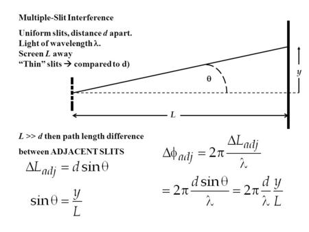 "Multiple-Slit Interference Uniform slits, distance d apart. Light of wavelength. Screen L away ""Thin"" slits  compared to d) L y  L >> d then path length."