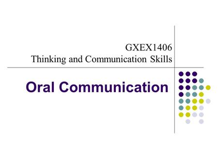 GXEX1406 Thinking and Communication Skills