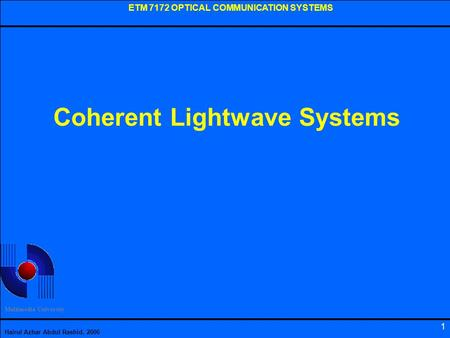 Coherent Lightwave Systems