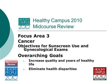 Healthy Campus 2010 Midcourse Review Focus Area 3 Cancer Objectives for Sunscreen Use and Gynecological Exams Overarching Goals 1. Increase quality and.