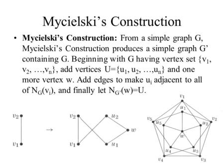 Mycielski's Construction Mycielski's Construction: From a simple graph G, Mycielski's Construction produces a simple graph G' containing G. Beginning with.