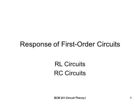 Response of First-Order Circuits