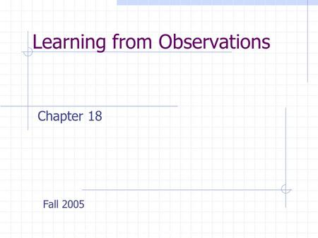 Learning from Observations Copyright, 1996 © Dale Carnegie & Associates, Inc. Chapter 18 Fall 2005.