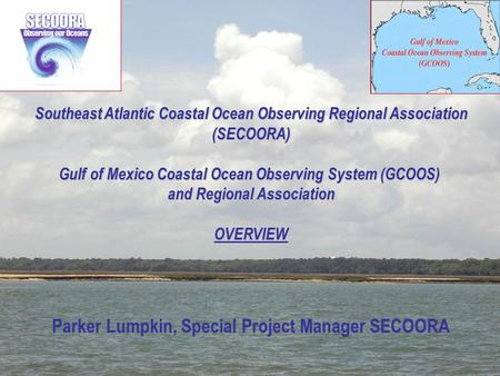 1 Southeast Atlantic Coastal Ocean Observing Regional Association (SECOORA) Gulf of Mexico Coastal Ocean Observing System (GCOOS) and Regional Association.