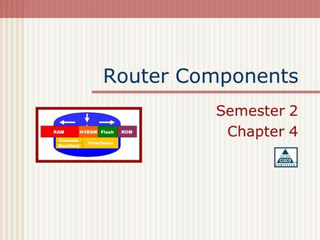 Router Components Semester 2 Chapter 4. Table of Contents More on Components The Show Command Network Neighbor Routers Basic Network Testing.