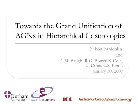 Towards the Grand Unification of AGNs in Hierarchical Cosmologies Nikos Fanidakis and C.M. Baugh, R.G. Bower, S. Cole, C. Done, C.S. Frenk January 30,