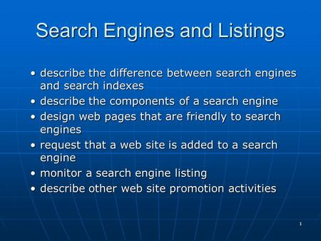 Search Engines and Listings