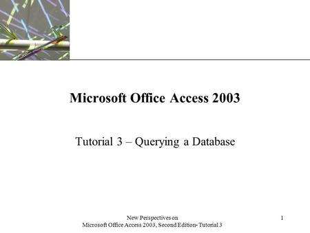 XP New Perspectives on Microsoft Office Access 2003, Second Edition- Tutorial 3 1 Microsoft Office Access 2003 Tutorial 3 – Querying a Database.