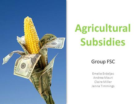 Agricultural Subsidies Group FSC Emelie Erdeljac Andrea Mauri Claire Miller Jenna Timmings.