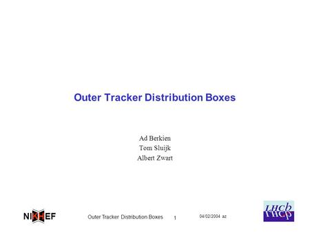 04/02/2004 az Outer Tracker Distribution Boxes 1 EFNI H K Outer Tracker Distribution Boxes Ad Berkien Tom Sluijk Albert Zwart.