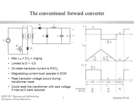 ECEN 5817 Resonant and Soft-Switching Techniques in Power Electronics 1 Lectures 39-40 The conventional forward converter Max v ds = 2V g + ringing Limited.