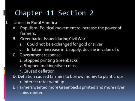 Chapter 11 Section 2 Unrest in Rural America