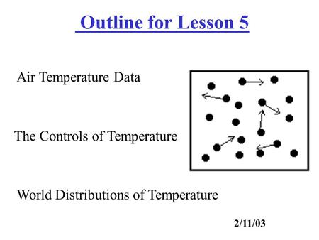 Air Temperature Data The Controls of Temperature Outline for Lesson 5 2/11/03 World Distributions of Temperature.