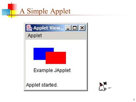 "1 A Simple Applet. 2 Applets and applications An application is an ""ordinary"" program Examples: Notepad, MS Word, Firefox, Halo, etc. An applet is a Java."