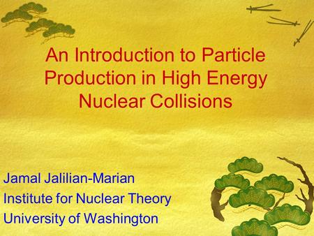 An Introduction to Particle Production in High Energy Nuclear Collisions Jamal Jalilian-Marian Institute for Nuclear Theory University of Washington.