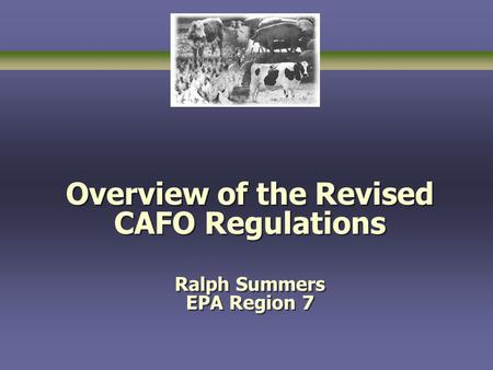 Overview of the Revised CAFO Regulations Ralph Summers EPA Region 7.