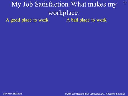 McGraw-Hill/Irwin © 2002 The McGraw-Hill Companies, Inc., All Rights Reserved. 1-1 My Job Satisfaction-What makes my workplace: A good place to workA bad.