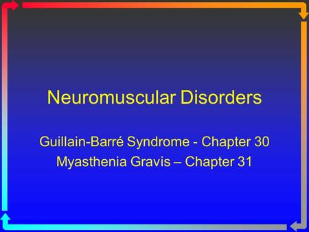 Neuromuscular Disorders Guillain-Barré Syndrome - Chapter 30 Myasthenia Gravis – Chapter 31.