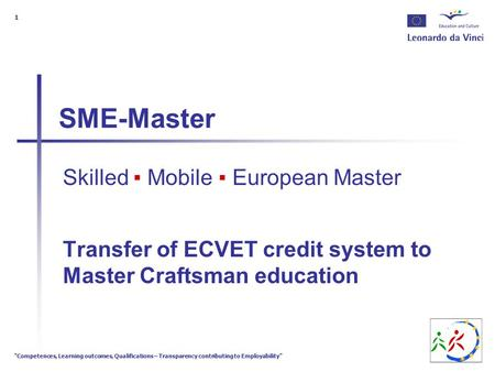 """Competences, Learning outcomes, Qualifications – Transparency contributing to Employability"" 1 SME-Master Skilled ▪ Mobile ▪ European Master Transfer."