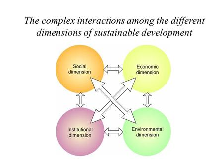 The complex interactions among the different dimensions of sustainable development.