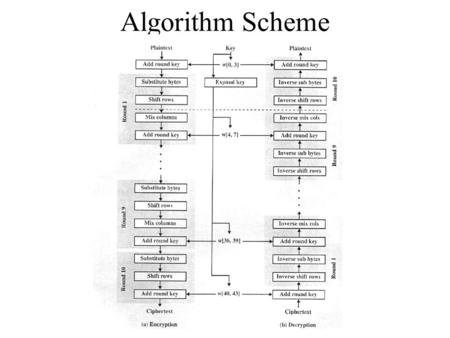 Algorithm Scheme. AddRoundKey Each round uses four different words from the expanded key array. Each column in the state matrix is XORed with a different.
