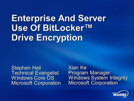 BitLocker Enterprise Deployment - ppt video online download