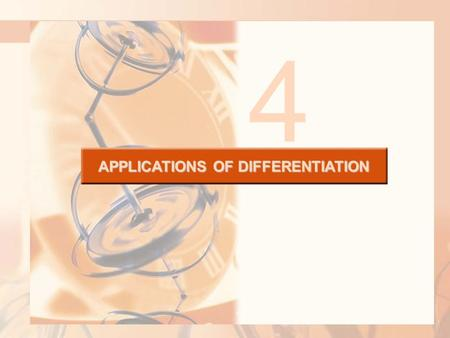 APPLICATIONS OF DIFFERENTIATION 4. 4.1 Maximum and Minimum Values In this section, we will learn: How to find the maximum and minimum values of a function.