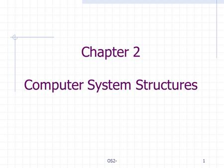 OS2-1 Chapter 2 Computer System Structures. OS2-2 Outlines Computer System Operation I/O Structure Storage Structure Storage Hierarchy Hardware Protection.