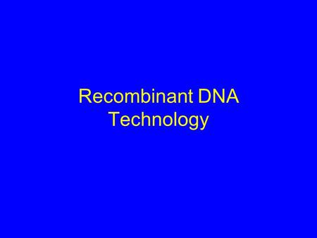 Recombinant DNA Technology. rDNA Technology Restriction Enzymes and DNA Ligase Plasmid Cloning Vectors Transformation of Bacteria Blotting Techniques.
