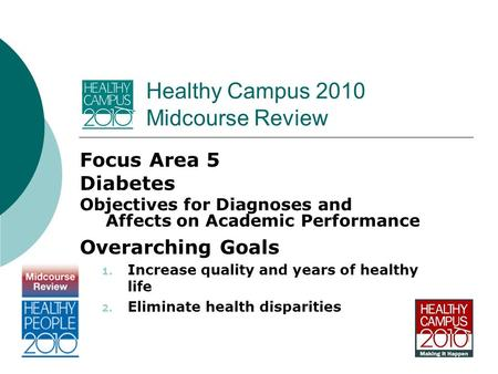Healthy Campus 2010 Midcourse Review Focus Area 5 Diabetes Objectives for Diagnoses and Affects on Academic Performance Overarching Goals 1. Increase quality.