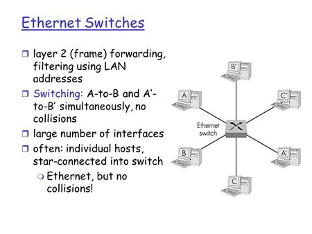Ethernet Switches r layer 2 (frame) forwarding, filtering using LAN addresses r Switching: A-to-B and A'- to-B' simultaneously, no collisions r large number.