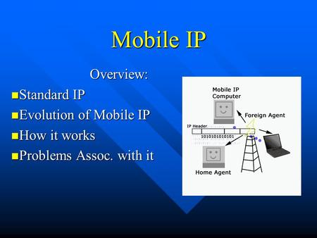 Mobile IP Overview: Standard IP Standard IP Evolution of Mobile IP Evolution of Mobile IP How it works How it works Problems Assoc. with it Problems Assoc.