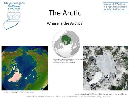 The Arctic Where is the Arctic? Summer 2010 Workshop in Biology and Multimedia for High School Teachers