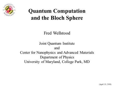 Quantum Computation and the Bloch Sphere
