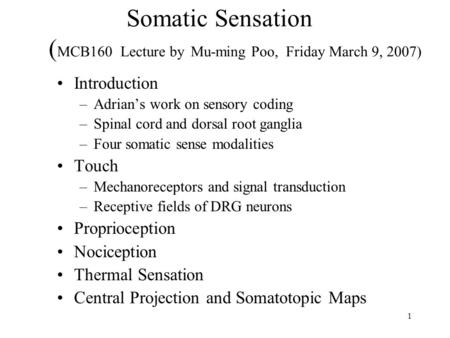1 Somatic Sensation ( MCB160 Lecture by Mu-ming Poo, Friday March 9, 2007) Introduction –Adrian's work on sensory coding –Spinal cord and dorsal root ganglia.