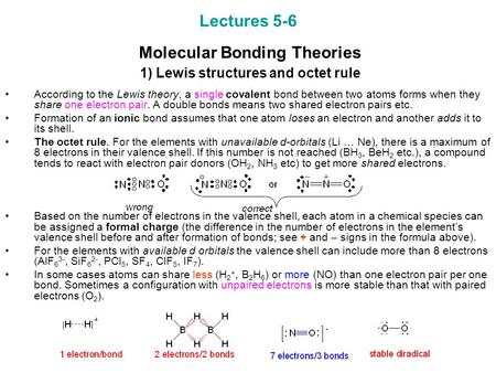 Lectures Molecular Bonding Theories   1) Lewis structures and octet rule