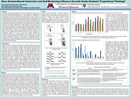 Does Schema-Based Instruction and Self-Monitoring Influence Seventh Grade Students' Proportional Thinking? Asha Jitendra, University of Minnesota Jon R.
