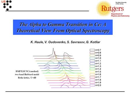 IJS The Alpha to Gamma Transition in Ce: A Theoretical View From Optical Spectroscopy K. Haule, V. Oudovenko, S. Savrasov, G. Kotliar DMFT(SUNCA method)