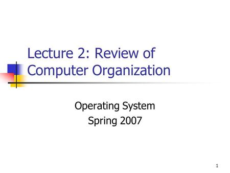 1 Lecture 2: Review of Computer Organization Operating System Spring 2007.