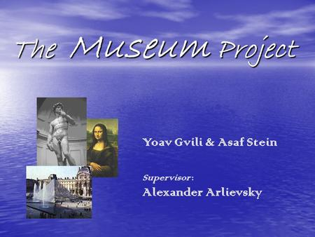 The Museum Project The Museum Project Yoav Gvili & Asaf Stein Supervisor : Alexander Arlievsky.