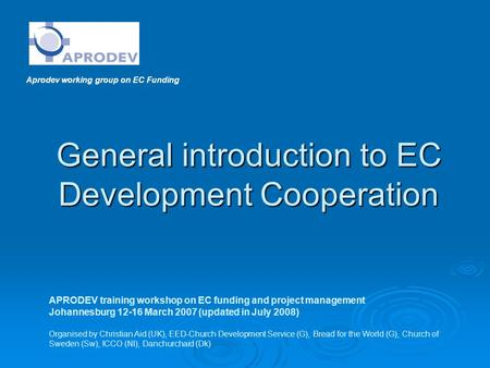 General introduction to EC Development Cooperation