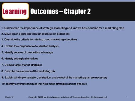 Chapter 2Copyright ©2008 by South-Western, a division of Thomson Learning. All rights reserved 1 Learning Outcomes – Chapter 2 1. Understand the importance.
