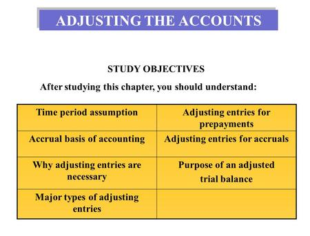 STUDY OBJECTIVES After studying this chapter, you should understand: Time period assumptionAdjusting entries for prepayments Accrual basis of accountingAdjusting.