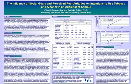 The Influence of Social Goals and Perceived Peer Attitudes on Intentions to Use Tobacco and Alcohol in an Adolescent Sample Elisa M. Trucco, B.A. and Craig.